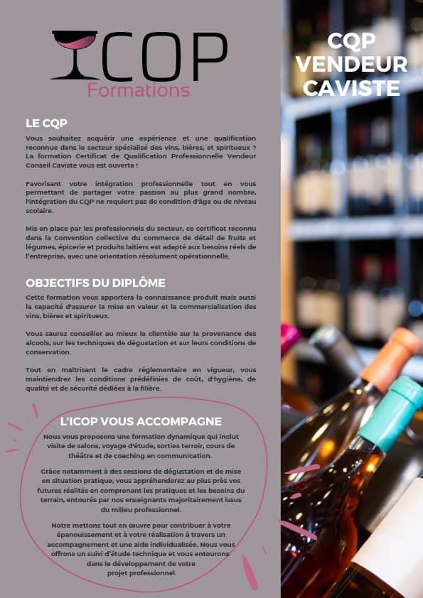 CQP Vendeur conseil Caviste - ICOP Formations