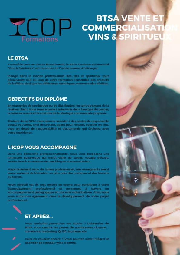 BTSA Technico-commercial vins & spiritueux - ICOP Formations